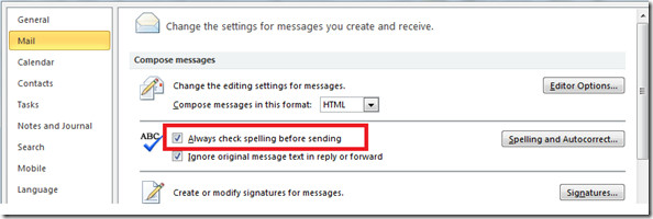 Outlook 2010 Email Spell Check