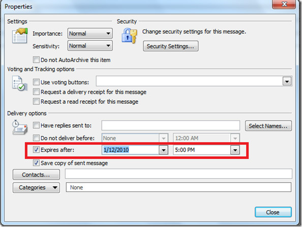 Outlook 2010 Expire After