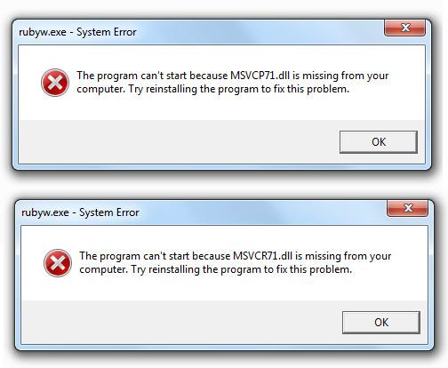msvcp71.dll  - msvcr71.dll error windows 7