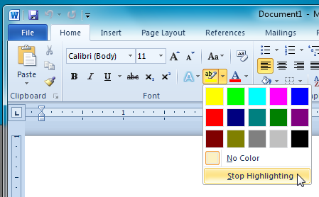 stop highlighting
