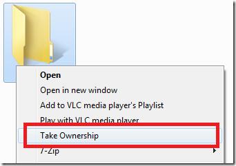 take ownership context menu