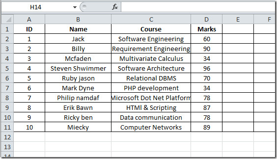 Excel shhet student record