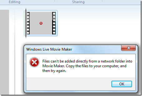Files Cant be added from network folder