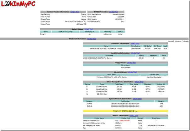 LookInMyPC report