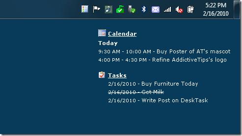 Outlook 2010 Calendar Tasks Desktop