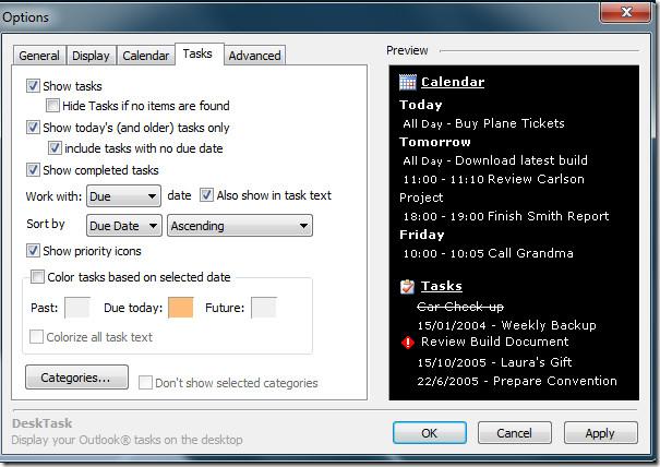 Outlook 2010 Tasks Desktop DeskTask