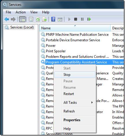 Program Compatibility Assistant Service