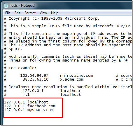 WinHosts file Windows 7