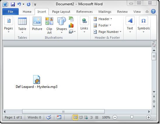 Word audio file