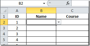 name filed list button