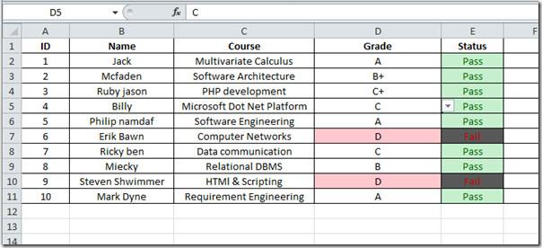 table marks list