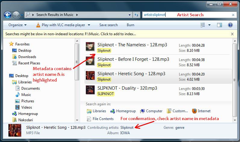 windows 7 metadata search