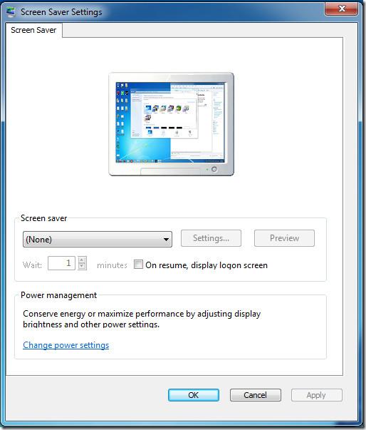 Screensaver resize dialog window