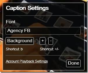 YouTube Captions Settings