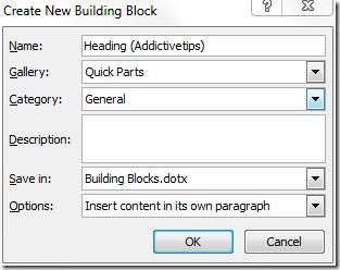 create New Building Block