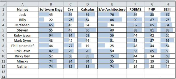 data bars marks