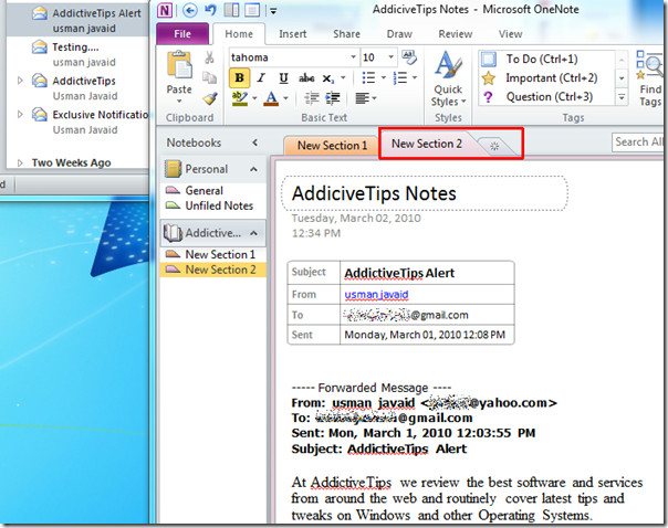 outlook to onenote