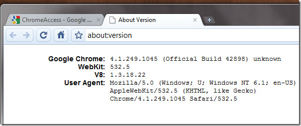 About chrome version