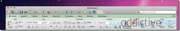 Excel 2011--tabbed interface