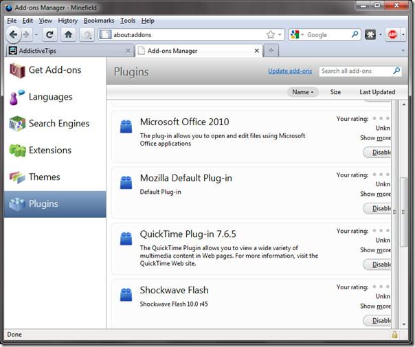 Firfox plugins add-on manager