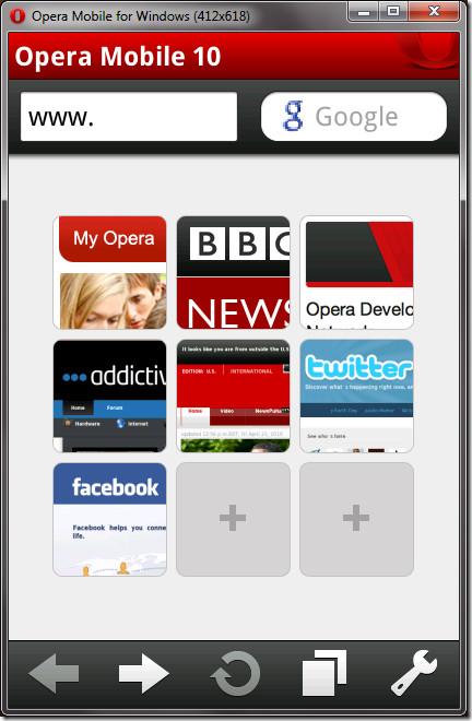 Opera Mobile Emulator homescreen
