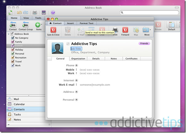 Outlook 2011--contacts