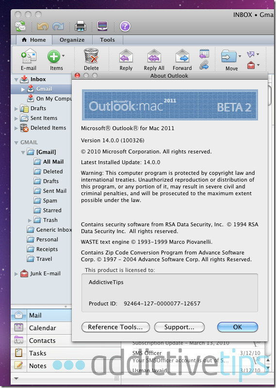 Outlook 2011--main interface