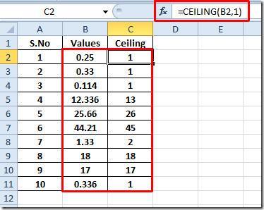 celing decimal