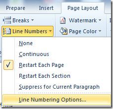 line numbering options
