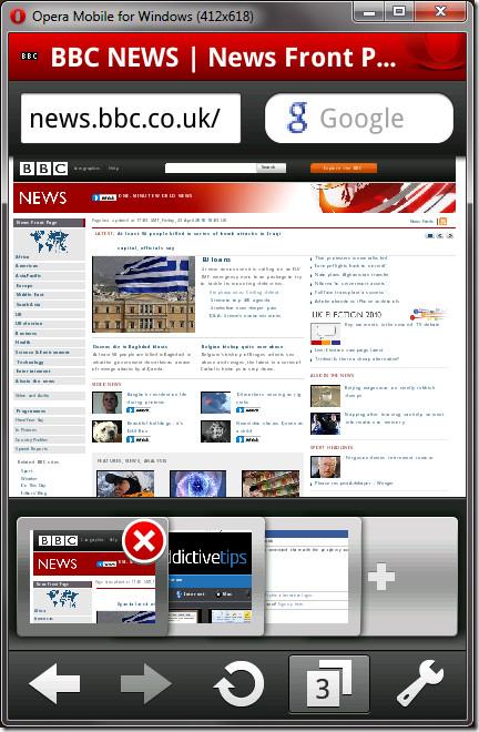 opera mobile navigation