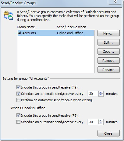 send receive groups