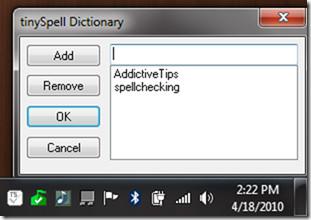 tinySpell dictionary