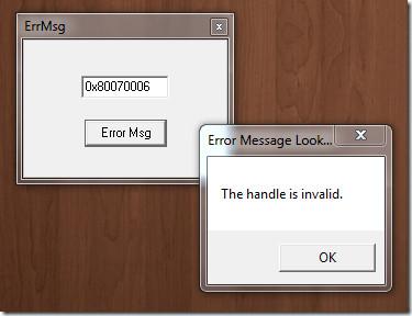 Error Message Lookup