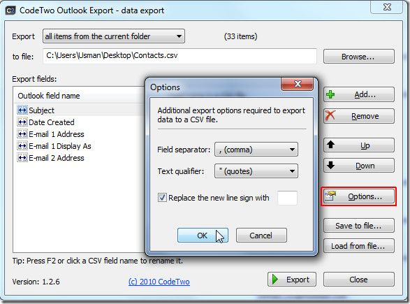 export options Code Two