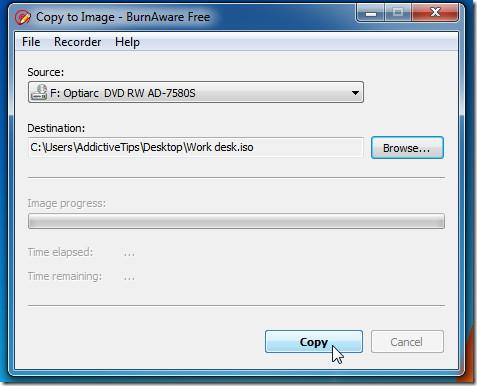 BurnAware Copy to Image