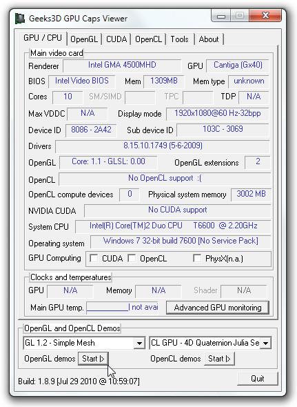 Geeks3D GPU Caps Viewer