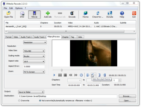 XMedia Recode video