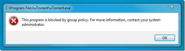 blocked application utorrent