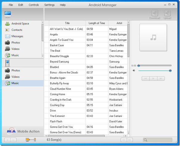 Android Manager Music