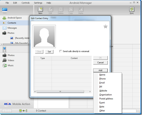Android Manager New Contact