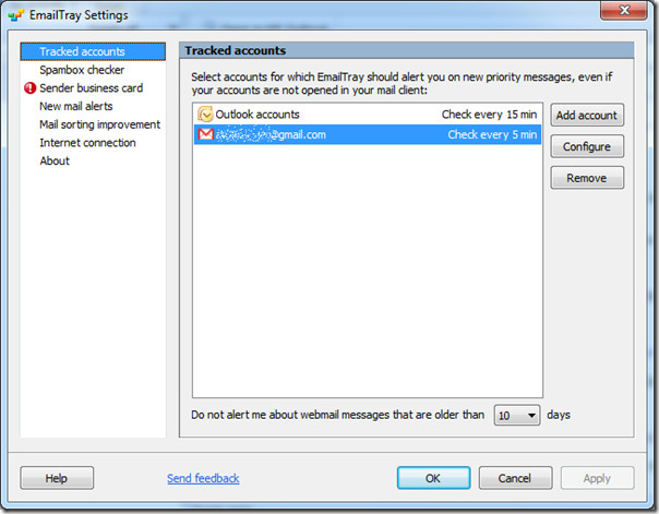 EmailTray settings