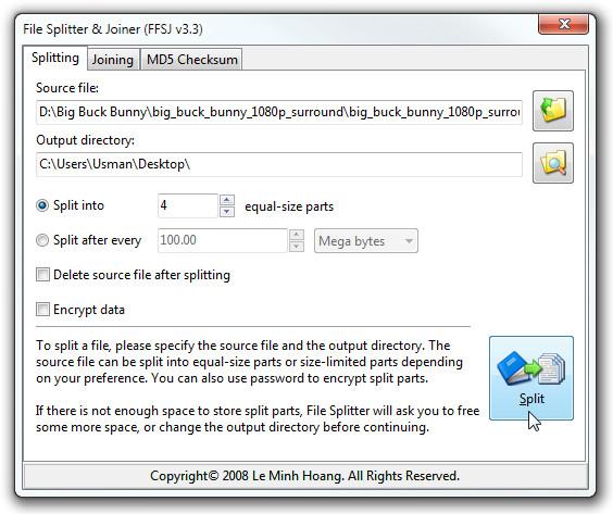 File Splitter & Joiner (FFSJ v3.3)