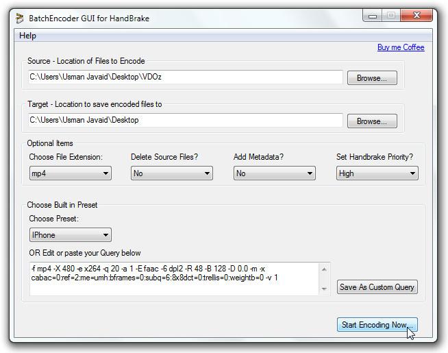BatchEncoder GUI for HandBrake 111