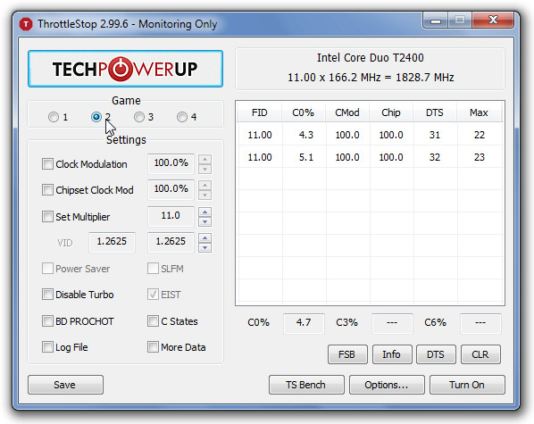 ThrottleStop 2.99.6 - Monitoring Only
