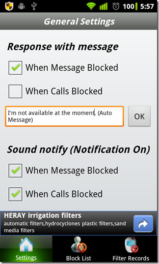 Auto respond + Notification Settings