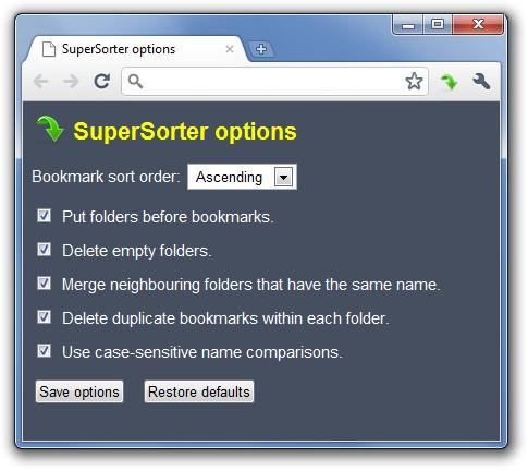 SuperSorter options - Google Chrome