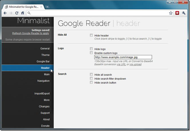 google reader minimalist
