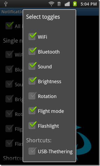 All-in-one settings