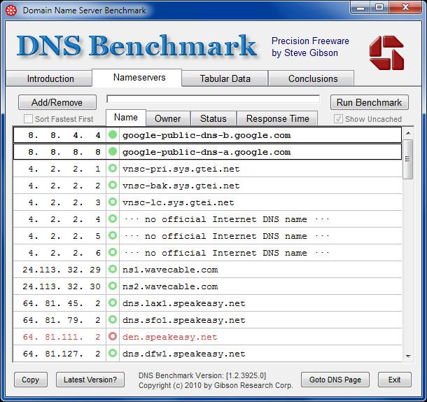 Domain Name Server Benchmark
