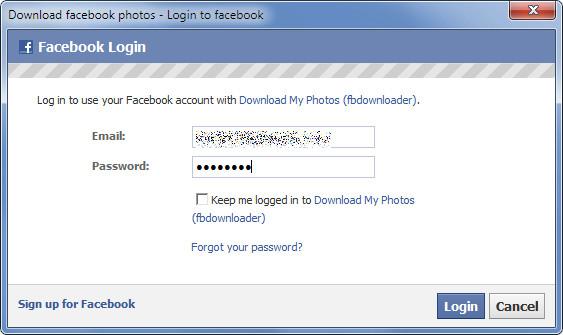 Download facebook photos - Login to facebook